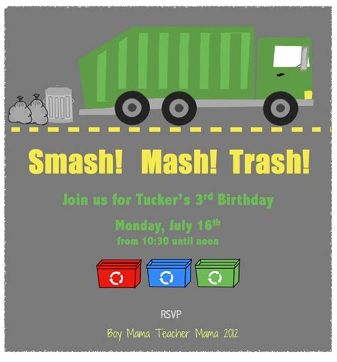 boy mama  trashy celebration  garbage truck birthday