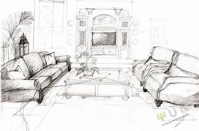 Sketch Living Sketches Interior Plan Floor Drawing