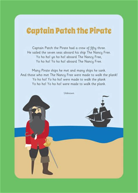 captain patch  pirate song  early years primary