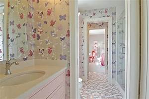 gray and pink bathroom with penny tiles contemporary With kitchen colors with white cabinets with gossip girl butterfly wall art