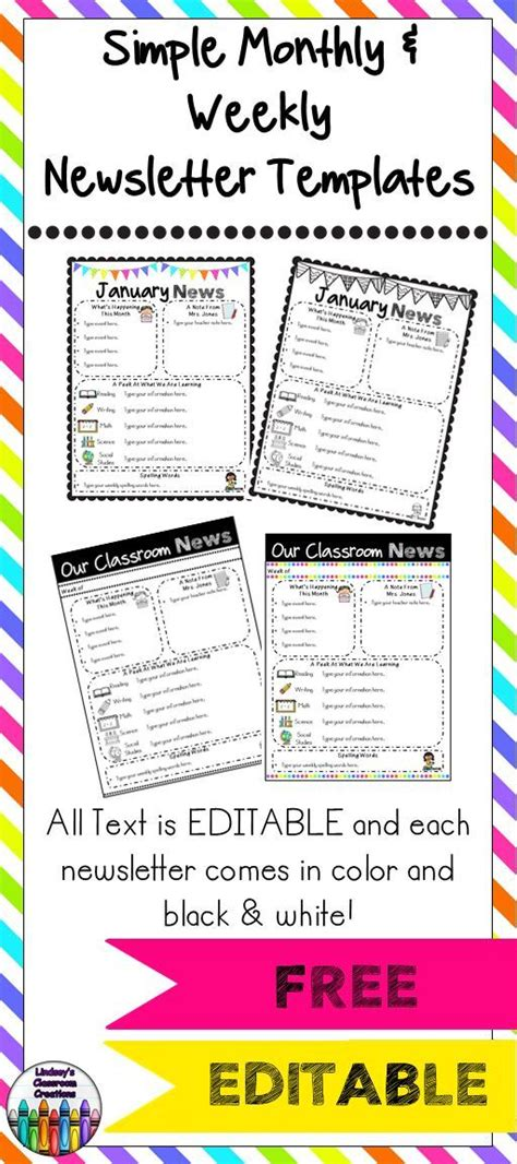 free editable newsletter templates the 25 best newsletter template free ideas on parent newsletter classroom