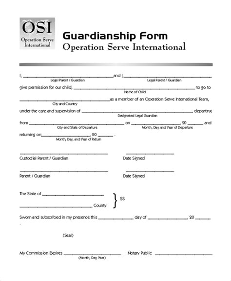 20842 temporary guardianship forms free printable guardianship forms