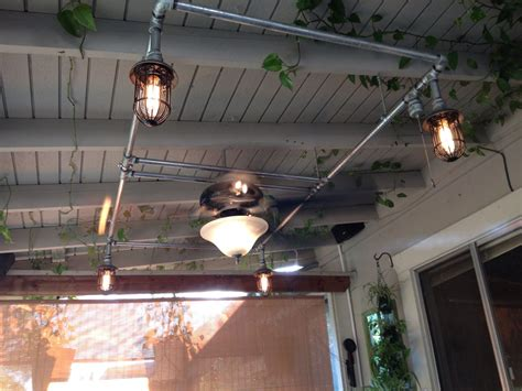 galvanized pipe lighting patio fan and lights with galvanized pipe i made this