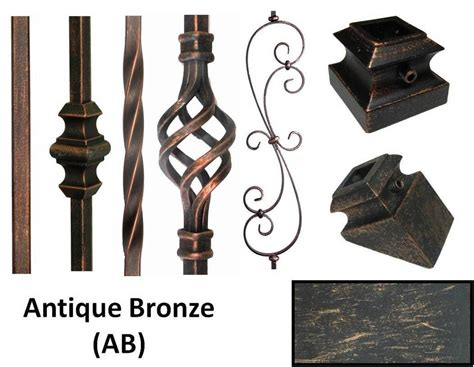 Antique Bronze(ab) Iron Stair Parts Metal Spindles Iron Balusters Basket Twist
