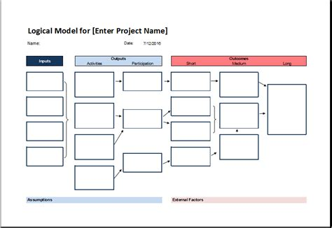 logical model flow chart template  excel excel templates