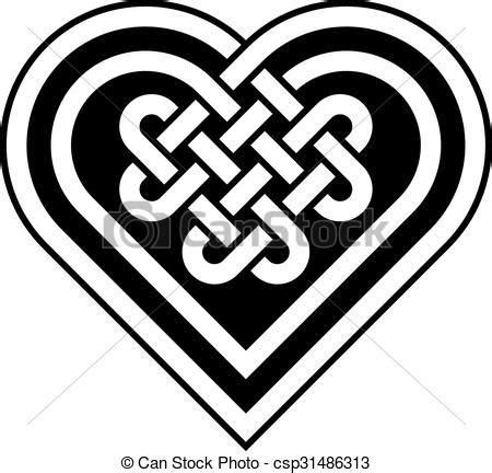 celtic heart shape knot vector illustration black
