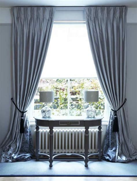 Interlined Twin Pinch Pleat Silk Curtains On Lath & Fascia