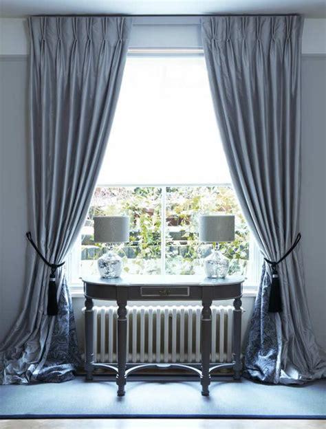 Interlined Twin Pinch Pleat Silk Curtains On Lath & Fascia