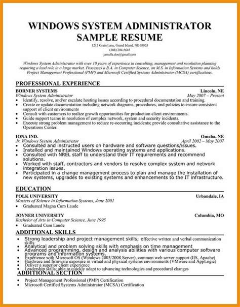 sample cover letter system administrator system administrator resume generic resume