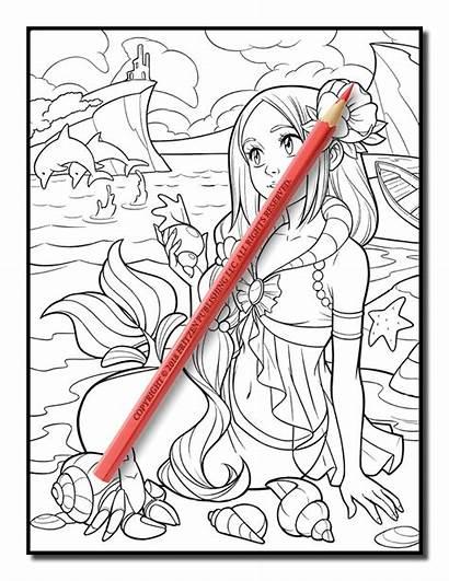 Mermaid Coloring Summer Jade Pages Adults Pdf