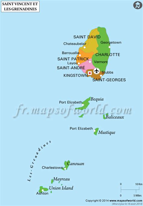 Carte de Saint-Vincent-et-les Grenadines