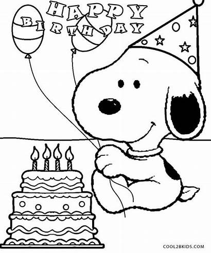 Snoopy Coloring Pages Birthday Printable Cool2bkids
