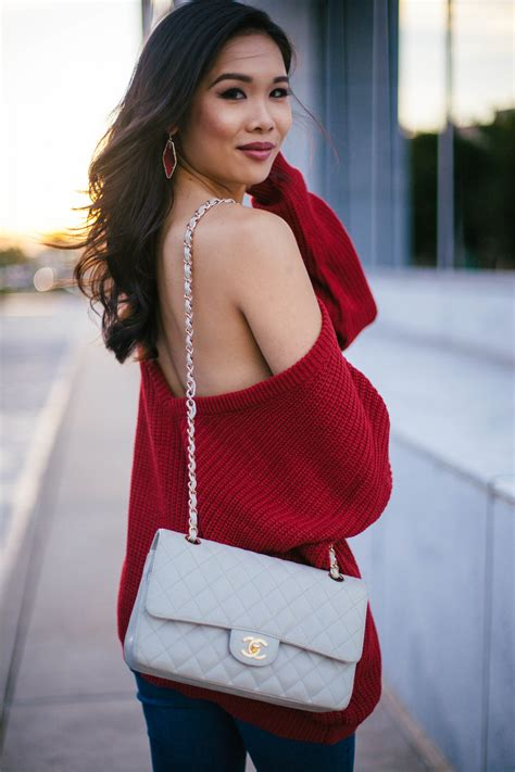 fall red slouchy sweater    color chic