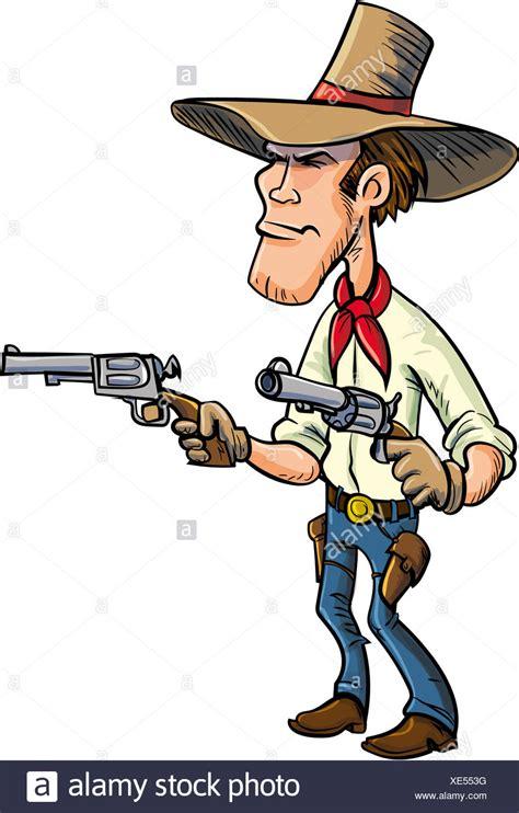 cartoon cowboy drawing guns isolated  white stock photo