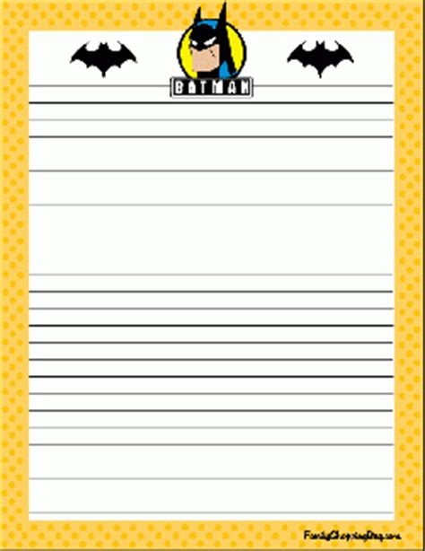 printable batman stationery batman stationery