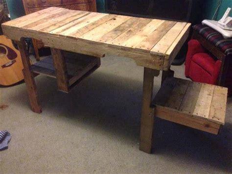 wood pallet desk diy wood pallet desk and storage cubby pallet furniture diy