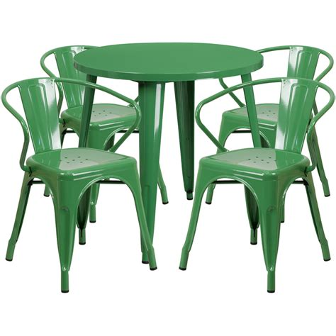 30 green metal indoor outdoor table set with 4 arm