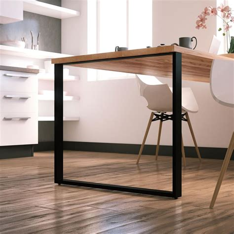 pied de table cuisine pied de table forme rectangle en metal noir hauteur