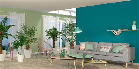 canapé bleu pétrole couleur peinture salon