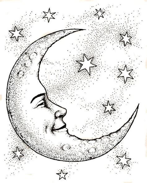 crescent moon face stars coloring web page      image drawings