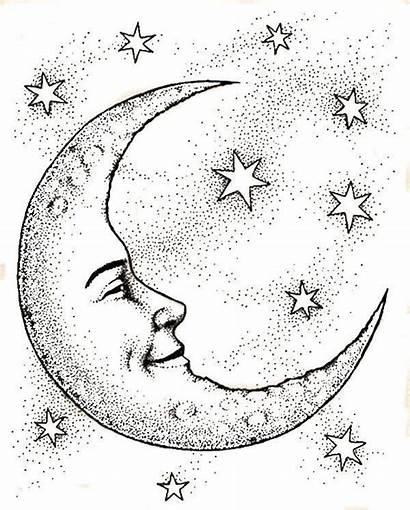 Moon Crescent Face Drawing Sun Drawings Stars