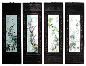 Chinese porcelain 4 season flower bird wall panel set for Asian wall art