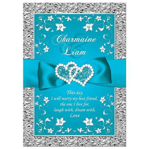 wedding invitation turquoise silver floral faux