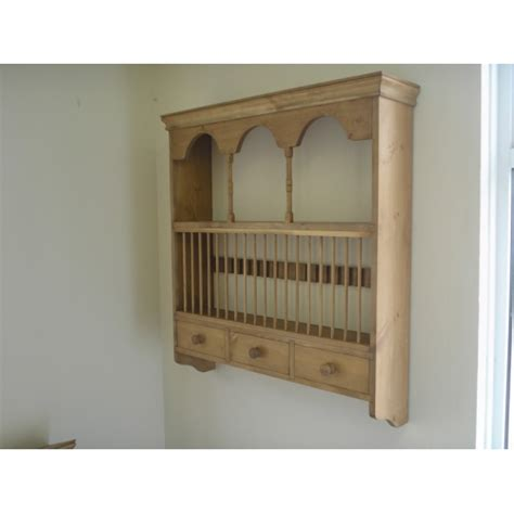 pine wall plate rack  spice drawers wcm