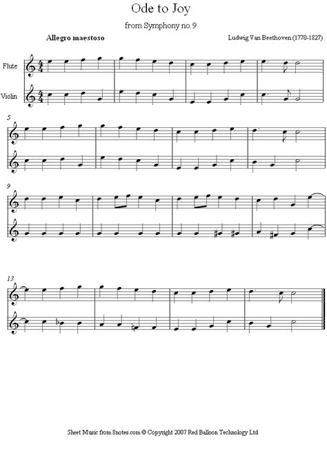 beethoven ode to joy theme from 9th symphony sheet music
