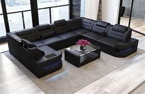U Form Sofa : sofa wohnlandschaft como u form in leder komplett schwarz ~ Bigdaddyawards.com Haus und Dekorationen