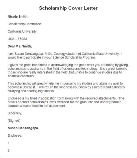 Cover Letter For A Scholarship sle scholarship cover letter scholarship cover letter