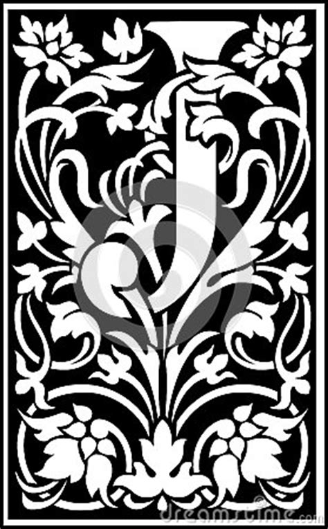 flowers decorative letter  balck  white royalty