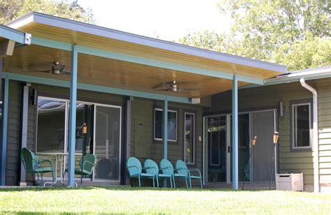 retro patio furniture porch midcentury with ceiling