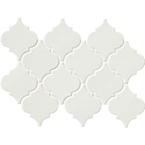arabesque white tile ms international whisper white arabesque 10 1 2 in x 15 1 2 in x 8 mm glazed ceramic mesh