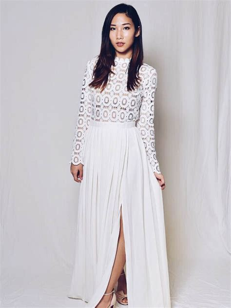 Bianca Long Sleeve Lace Maxi Dress In White Ashley Summer Co
