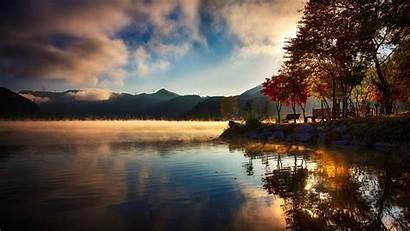Sunrise Lake Fall Mountain Nature Trees Water