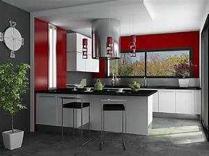 creer une deco chic avec sa peinture cuisine With peinture rouge pour cuisine