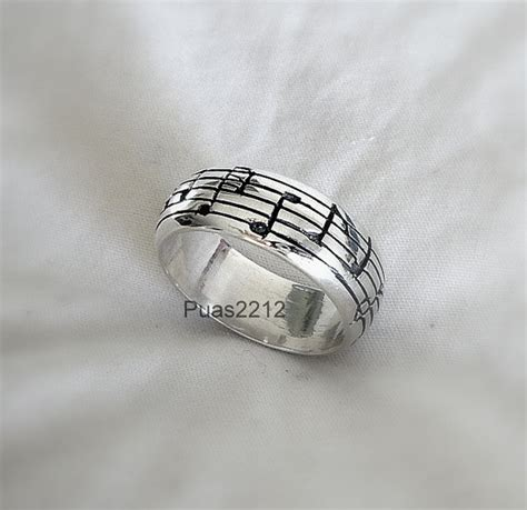 sterling silver pentagram ring musical notes music man