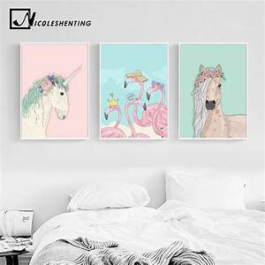 unicorn horse flamingo wall art canvas posters and prints With awesome home design ideas with horse decals for walls
