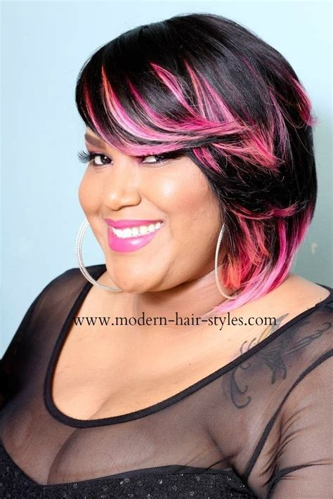 black hairstyles with color bob hairstyles for black with color pop