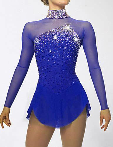 figure skating dress s skating dress blue aquamarine spandex rhinestone