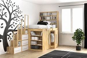 Lit Armoire Gain De Place : lit impero young de cinius avec modules coulissants avec ~ Premium-room.com Idées de Décoration