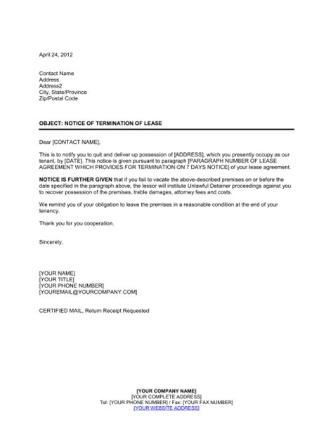 landlord notice  termination  lease template word