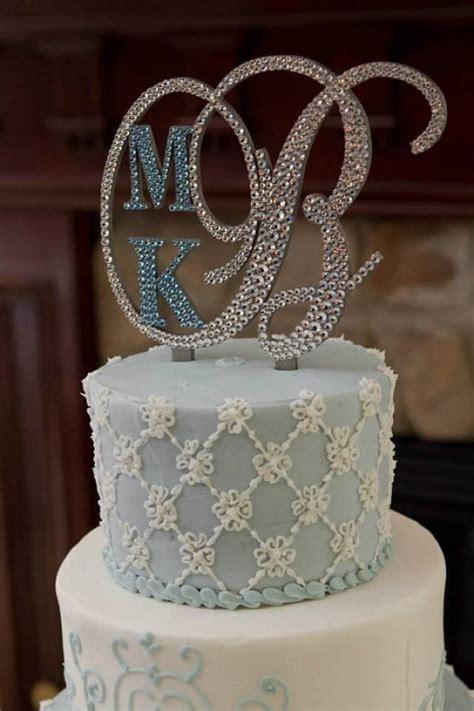monogram wedding cake topper crystal initial  letter                p