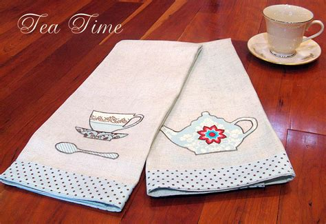 Kitchen Towel by Classic Linen Kitchen Towels With Tea Time Appliqu 233 S