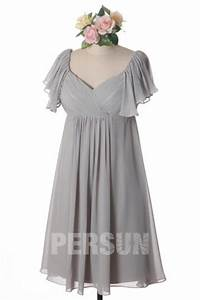 pink cap sleeve ruching knee length chiffon formal With robes pour rondes