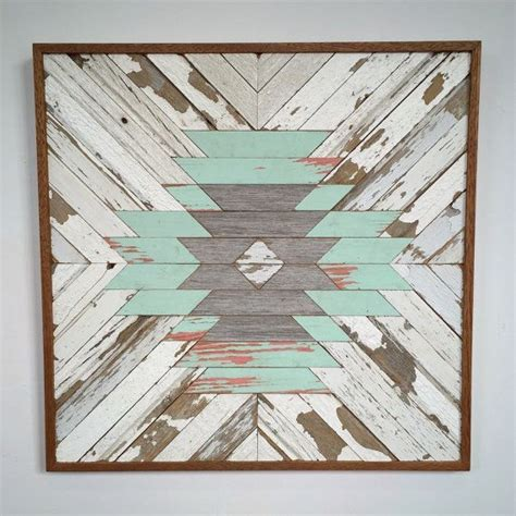 reclaimed wood aztec pattern  rustedwillowartworks