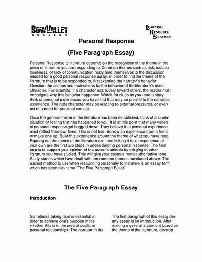Response Essay Personal Sample Template Allbusinesstemplates Main