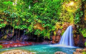 Nature, Landscape, Waterfall, With, Turquoise, Blue, Water, Rock