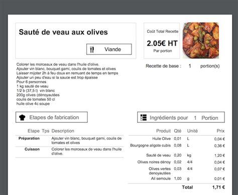 logiciel fiche technique cuisine calcul du prix de revient d une recette en cuisine koust